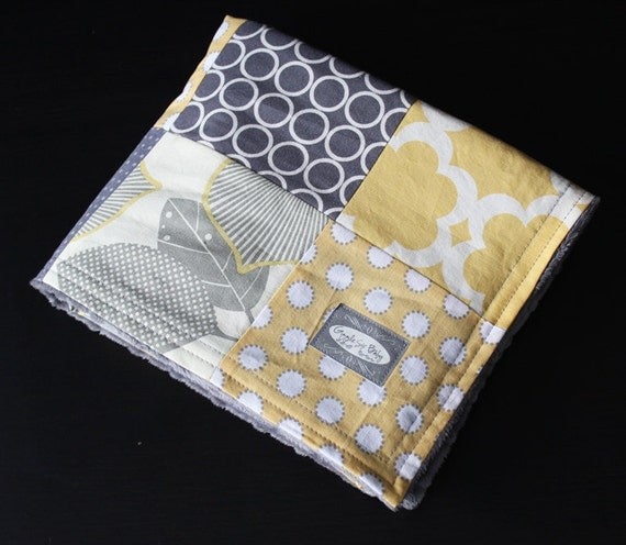 SALE - Yellow and Grey Baby Blanket, Patchwork quilt with Grey Minky