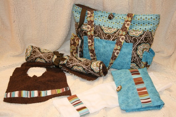 Boutique Monogrammed Handmade Diaper Bag Set with Matching Paci Pouch, Changing Pad, Diaper and Wipe Case Pouch, Burp Cloth and Bib