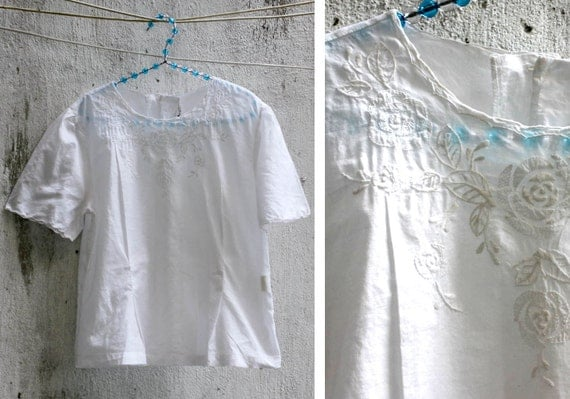 Vintage White Embroidered Top