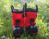 PDF Knitting Pattern for Ladybug Rainbooties for Baby