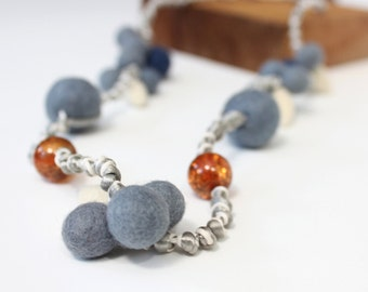 Blue & White Felt Bead Necklace With Amber Acrylic Beads