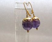 Violet Amethyst Earrings : Gold Purple Earrings, Amethyst Drop Earrings, Amethyst Jewelry, Birthstone Jewelry, Elegant Natural Jewelry