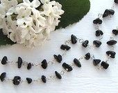 Black Tourmaline Strand Necklace : Long Necklace, Black Necklace, Downton Abbey, Great Gatsby, Art Deco Style, Argentium