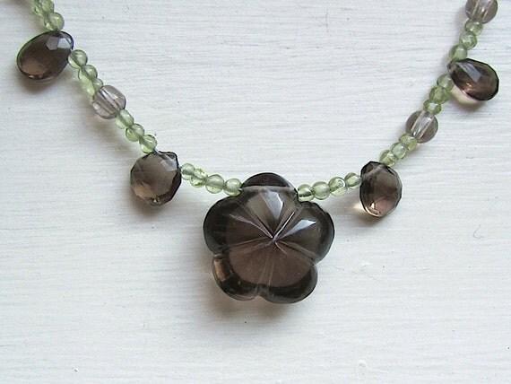 Gemstone Flower Necklace : Smoky Quartz and Peridot, Nature Jewelry, Spring Jewelry, Floral Jewelry, Smokey Quartz Jewelry