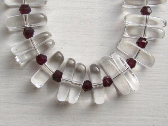 Rock Crystal and Garnet Bib Necklace : Crystal Statement Necklace, Chunky Necklace,  Long Necklace, Slab Necklace, Custom Length