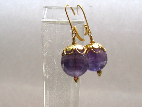 Violet Amethyst Earrings : Gold Purple Earrings, Amethyst Drop Earrings, Amethyst Jewelry, Birthstone Jewelry, Elegant Natural Jewelry