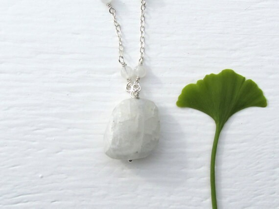 Delicate Moonstone Necklace : Moonstone Nugget Necklace, Natural Moonstone Jewelry, Handmade, Sterling Silver, Spring Jewelry