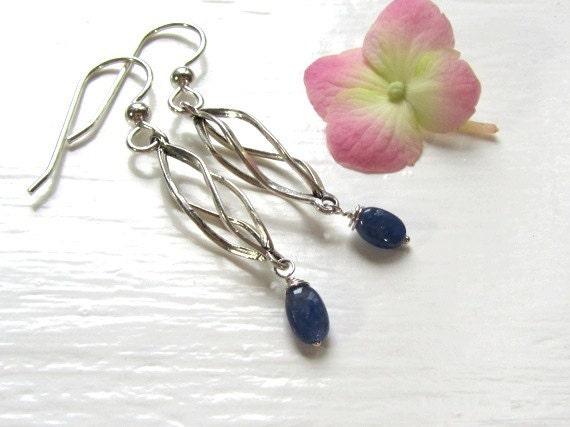 Genuine Sapphire Earrings : Sapphire Jewelry, Spiral Sterling Silver Earrings, Blue Gemstone Earrings, September Birthstone Jewelry