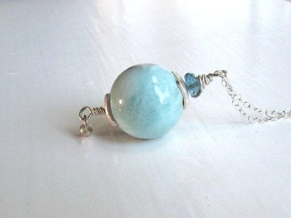 Larimar and Blue Topaz Necklace : Larimar Jewelry, Blue Natural Stone Jewelry, Ocean Jewelry, Beach Jewelry, Handmade Natural Jewelry