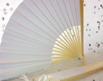 Bamboo and Paper Fan with Organza Bag