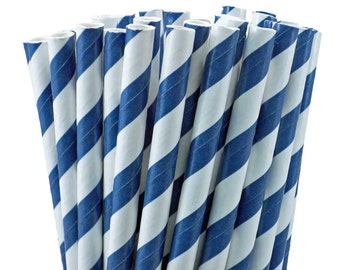 Paper Straws Navy Stripe w/DIY Party Flags