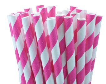 Paper Straws Hot Pink Mix Pack of 25 W/DIY Confetti Celebration Flags