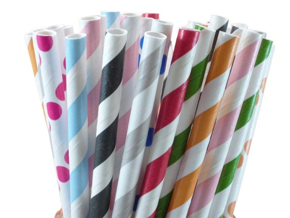 Paper Straws 50 Any 2 Colors w/ DIY confetti celebration flags
