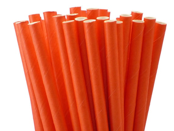 Paper Straws Solid Coral 25 w/DIY Party Flags