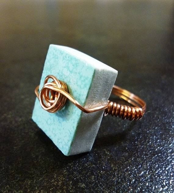 Salvaged Turquoise Tile Ring