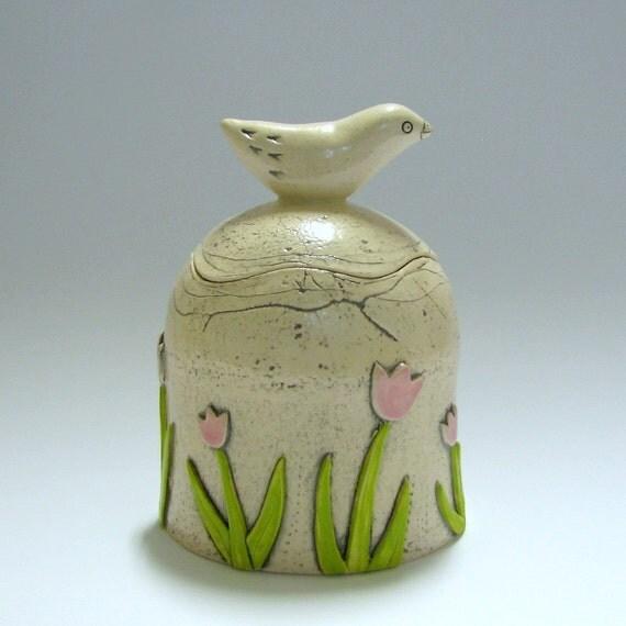 Lidded Jar with Bird and Tulips