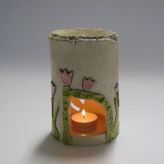 Aromatherapy Oil Burner and Candle holder with  tulips