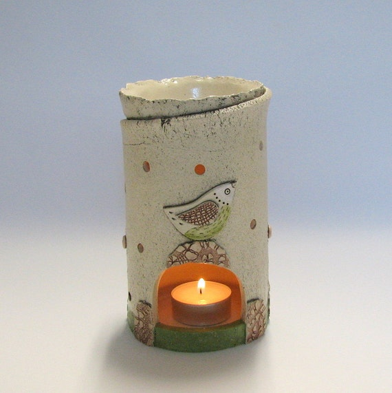 Aromatherapy Oil Burner and Candle holder with birds and flowers