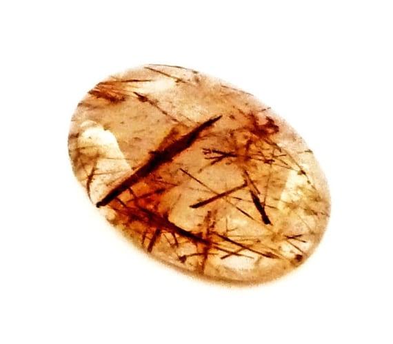 Copper Rutilated Quartz Oval Cabochon Stone (27mm x 19mm x 9mm)