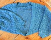 Vintage turquoise glittery shrug knitted cardigan one size