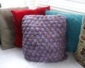 SALE 20 % off Upcycled handknit textured cushion cover vintage fabric reverse