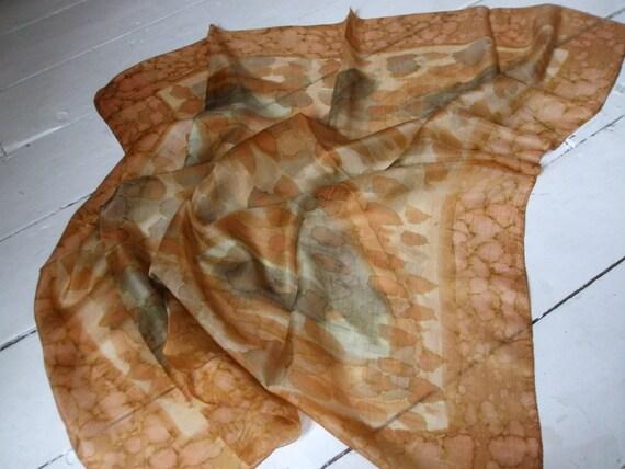 Beautiful silk scarf golden browns watercolour print