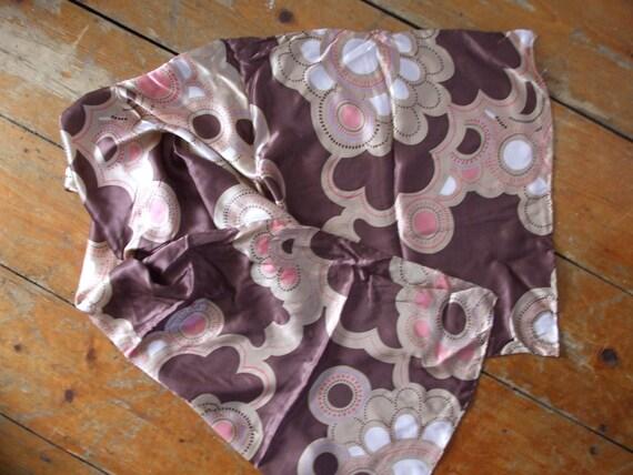 Vintage silk long scarf coffee chocolate pink