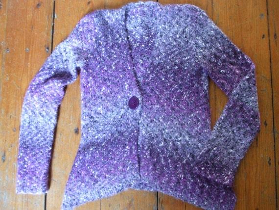 "Handknit grey purple marl cardigan 36"" chest"