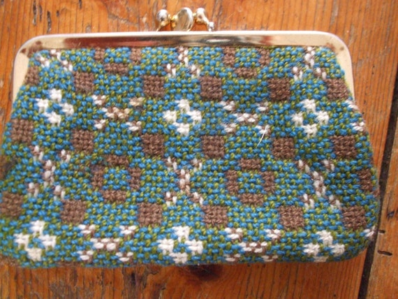 Vintage Welsh tweed change purse green teal tost brown