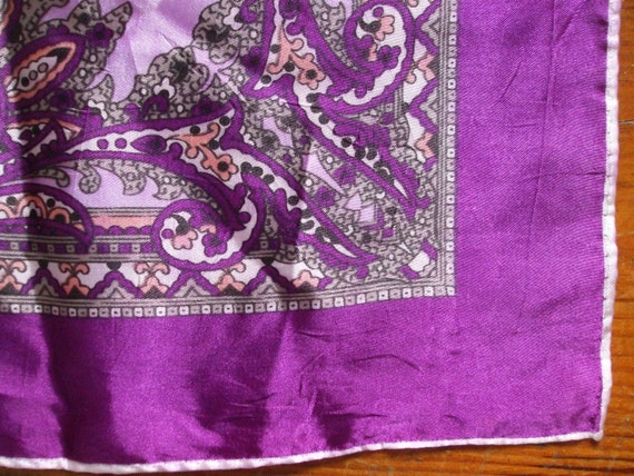 Vintage purple square silk scarf with hand sewn rolled edge