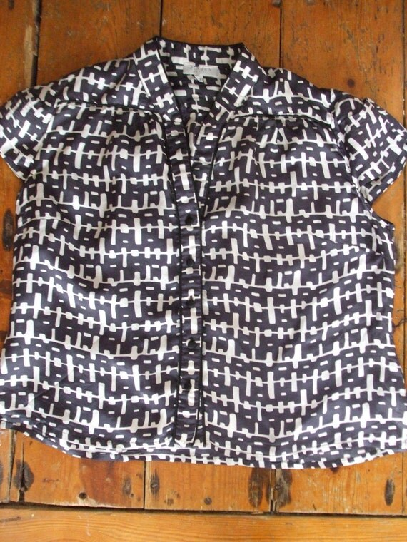 "Vintage navy & white cap sleeve chic blouse Zendra Petite 44"" chest"