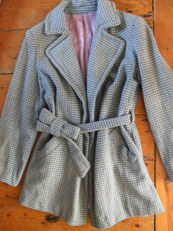 Vintage tweed dogtooth tie coat jacket in blue grey green check West Riding S / M