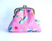 Framed Coin Pouch, in pink and blue dragonfly cotton print
