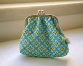 Framed Coin Pouch, in acqua yellow and pink pattern