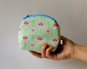 Cosmetic Zipper Purse, in Green and Pink Flowers and Stripes Print, cosmetic pouch, gadget purse, make up bag