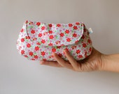 Clutch Purse - Charming Fabric Clutch - Summer Party Clutch Purse  in Ruby Floral Cotton Print