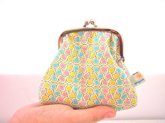 Framed Coin Pouch, in pink blue and yellow print