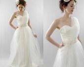 Joslin - Soft Tulle Asymmetric Beaded Gown