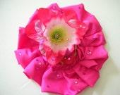 Pink hair flower hair clip hat