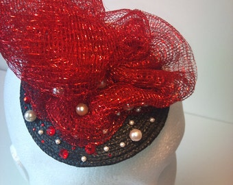 Red and black cocktail hat with pearls and swarovski crystals