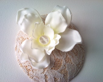ivory vintage lace fascinator hat with flower