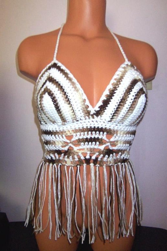 Crochet Summer Clothing Hippie Fringe Halter Top, Belly Dancing Top on White mix Brown Coffee
