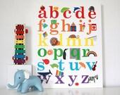 "Sale!! Kids Wall Art Alphabet Poster Children Decor Print on Canvas ""The Alphabet"" Bright Colours"