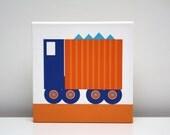 Kids Wall Art Children Decor Dump Truck Stretched Canvas Print 8x8