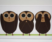 "Children Decor  Nursery Art Stretched Canvas Print ""See No Evil, Speak No Evil, Hear No Evil"" Brown 16x10 Kids Wall Art"