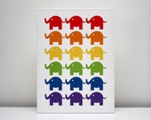 "Children Decor ""Modern Family"" Canvas Print 12x16 ""The Elephants"" Nursery Art"