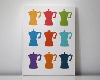 "Wall Decor Kitchen Art Stretched Canvas Print 12x16 ""Espresso"""