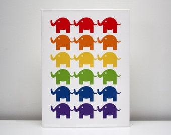 """Children Decor Canvas Print 12x16 """"The Elephants"""" Nursery Art"""