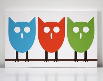 "Children Decor Kids Wall Art Canvas Print ""Three Owls"" 16x10 Nursery Art"