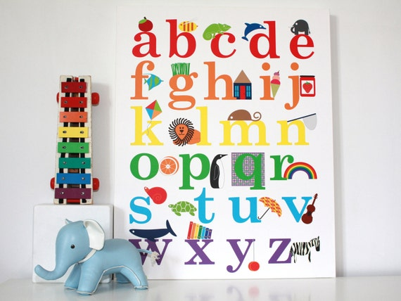 Kids wall art alphabet poster children decor print by for Alphabet wall decoration
